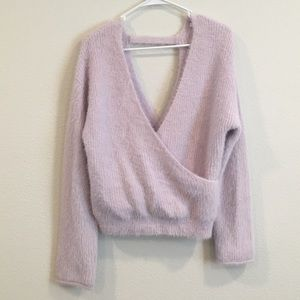 Pure Collection fuzzy cross front & back sweater